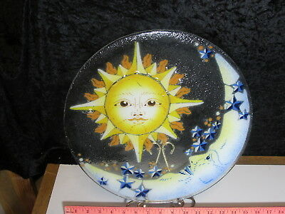 """PEGGY KARR GLASS Large 14"""" Sun & Moon Round Platter Plate Old Man in the SIGNED"""