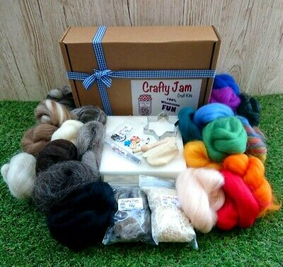 Needle Felting Delux Kit +20 cute project book Wool-19 colours+tools etc + Box