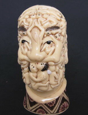Japanese ivory colored bone Okimono/netsuke -Sal Dali Nude Women draped  SKULL