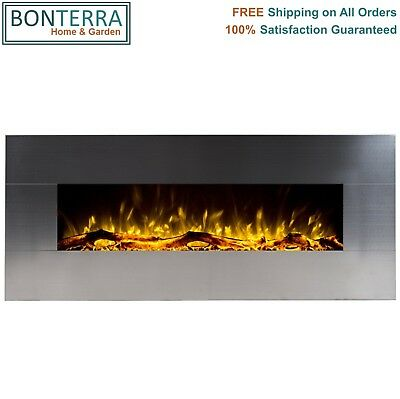 Touchstone Onyx Stainless Steel 50 Wall Mount Electric Fireplace Heat 400