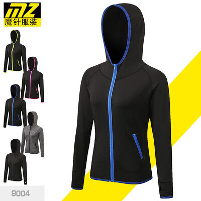 Women Girls Elastic Gym Fitness Sports Running Hoodie Yoga Tops Jumper Quick Dry