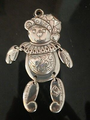 "Brighton "" HAPPY HOLIDAYS"" 2000 Patched Bear Silvertone Christmas Ornament"