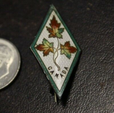 antique Pin Back  Canadian Maple Leaf Sterling Silver