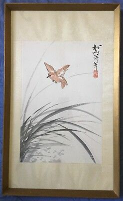 Vintage Antique Chinese Japanese Ink Painting Bird Among Flowers Signed Seal