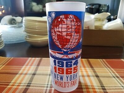 1964-1965 New York World's Fair Frosted Drinking Glass Unisphere, Vintage