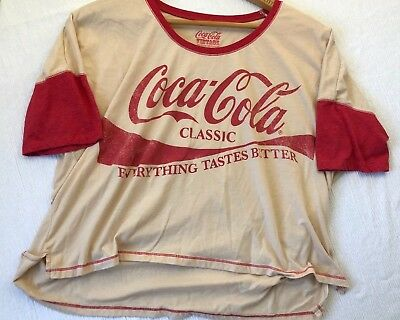 """Coca Cola Classic """"Everything Tastes Better"""" Women's Boat Neck Shirt, Size XL"""