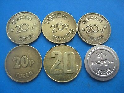 6 X Different Gold Coloured 20P Tokens Jpm, Bell Fruit, Eurocoin Coins