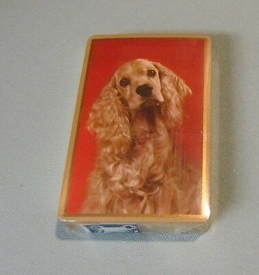 Vintage Cocker Spaniel Dog SEALED Pinochle Playing Cards Deck Congress Gold Edge