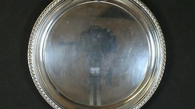 """Cartier Sterling Silver Platter / Tray / Plate with ornate rim pattern 8"""" Diam"""