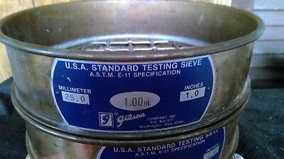 """GILSON  8"""" A Standard Testing Sieve ASTM E-11 1.00 in ( MM 250.) (Inches 1.0)"""
