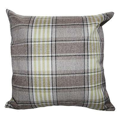 "Highland Check Green  Beige Tartan Mix Thick  Linen Cushion Cover 18"" £5.95 Each"