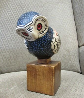 Hand Painted Pottery Owl Figurine Italy Vintage 1966 (Bjr10028)
