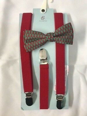 THE CLASS CLUB Clip-On Bow Tie & Suspenders, CHRISTMAS Tree Green & Red NWT $26