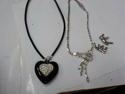 Sterling Rhinestone Art Deco necklace set SIGNED PHYLLIS,LG BLACK SS HEART PEND