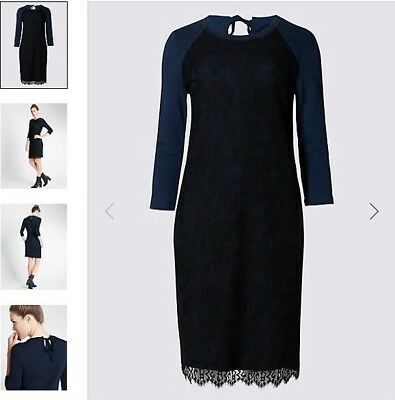 Marks and Spencer Pure Cotton 3/4 Sleeved Shift Dress Size 22