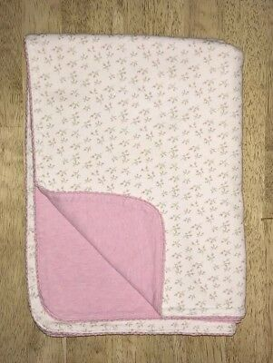 Amy Coe Little Roses Baby Blanket Pink White Tiny Flowers Cotton Lovey
