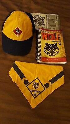 Cub scouts Wolf Hat (Sm), Neckercheif with Slide, and Handbook