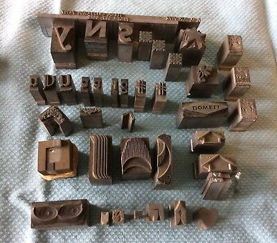 42 Lot Vintage Letterpress Letters Numbers Graphics Lead Metal Printing Type