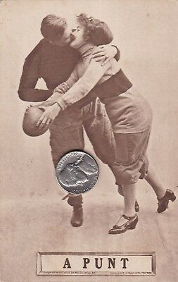 "Maine Biddeford Circa 1900 Very Rare Vintage Football Postcard ""a Punt"""