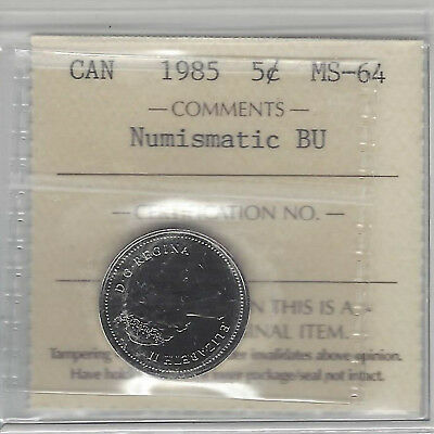 1985 Canada 5 Cents Nickel Coin Certified By ICCS MS-64 Numismatic BU  # QM541