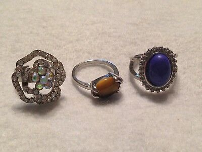 Lot Of Rings Sizes 7 1/4, 7 1/2 and Adjustable