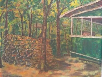 1951 Impressionist Cabin In The Woods Vintage Oil Painting