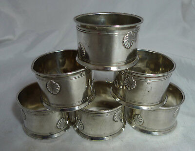 Antique French Silver Napkin Rings x 6 800 Grade 130g A678617