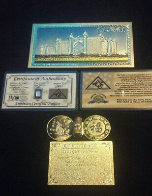 GOLD Rep.*Banknote SET $500-$1B W//COA+COIN/& FLAKE FREE S/&