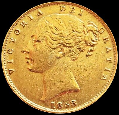 1858 Gold Great Britain Shield Reverse Young Head Coin Extremely Fine Condition