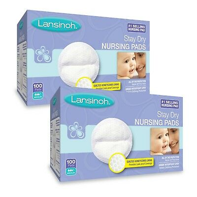 Lansinoh Nursing Pads, 2 Packs of 100 (200 Count) Stay Dry Disposable Breast Pad
