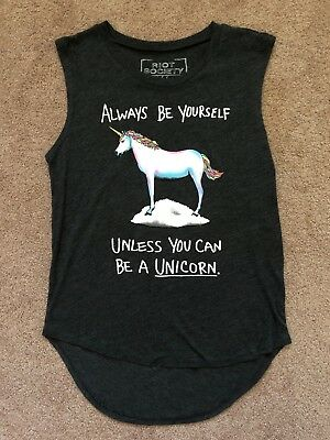 87f15fb9 Riot Society Women's Always Be Yourself Unless You Can Be A Unicorn Muscle  Small