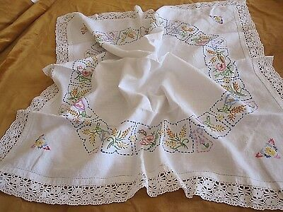 Lovely Vintage Hand Embroidered Linen Tablecloth With Hand Crochet Lace Trim