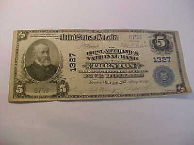1902  $5  Large National Currency Banknote Charter 1327 Trenton New Jersey