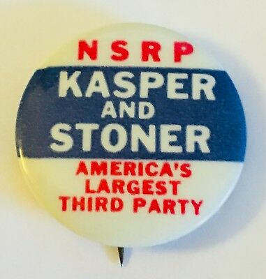 "1 1/4"" Kasper and Stoner NSRP (National States Rights Party) Campaign Pin"
