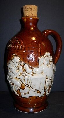 German Whisky Stoneware Jug with Repose Artwork of 2  Drinking Buddies,signed