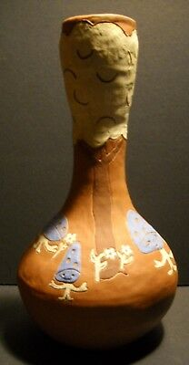 Folk Art Whimsical Niave Pottery Vase Featuring Aliens Signed  Mariouche 1975