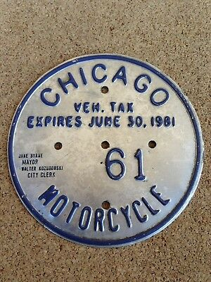 1961 Chicago Illinois Motorcycle Vehicle Tax License Plate