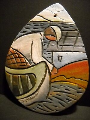 Michael Osborne Painting of a Fisherman on Clay