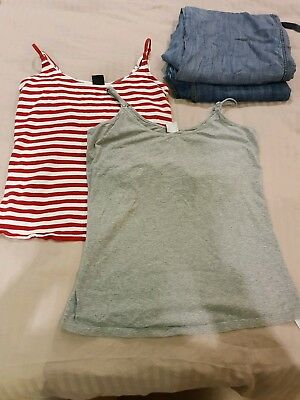 Maternity Clothes bundle 2 pairs of jeans 12L and 2 nursing vests size 12