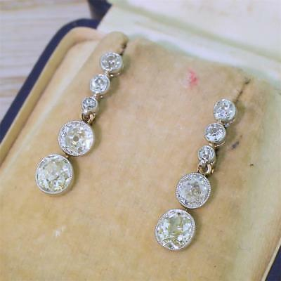 ART DECO 4.24ct OLD CUT DIAMOND DROP EARRINGS - 18k Gold & Platinum - c 1915