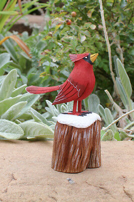 NAVAJO FOLK ART-RED CARDINAL ON SNOWY STUMP by RAY LANSING - NATIVE AMERICAN