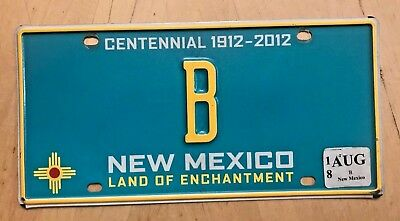 """Rare New Mexico Single Letter  Centennial Turquoise Vanity License Plate  """" B """""""