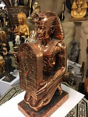 Unique Large Hand Made Egyptian King Tut Clock Copper Wash Made In Egypt