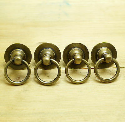 Set of 4 pcs Vintage Round Top Hat Ring Pull Atq Solid Brass Cabinet KNOB Pulls