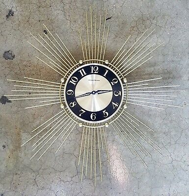 working metal George Nelson wall clock - sun burst style - Battery Operated