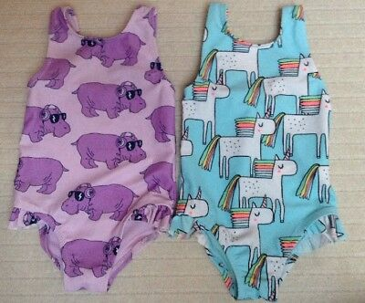 Unicorn& Hippo Brand New Swim Suit Set 3-6 mths By Next Girls