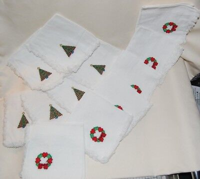 Cross Stitched Christmas Cocktail Napkins 6 Wreaths & 6 X-mas Trees-never used