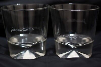 2 Vtg Johnnie Walker Black Label Scotch Whisky Diamond Prism Base Rocks Glasses