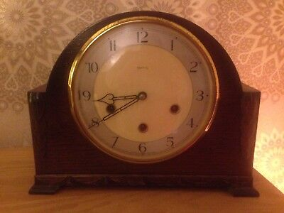 Vintage SMITHS Enfield Westminster Chime Mantel Clock With Key & Instructions