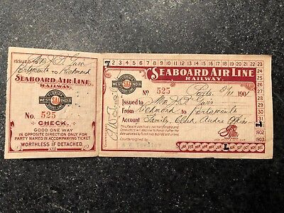 1901 Virginia Seaboard Air Line Railway Paper Trip Pass-With Return Low #